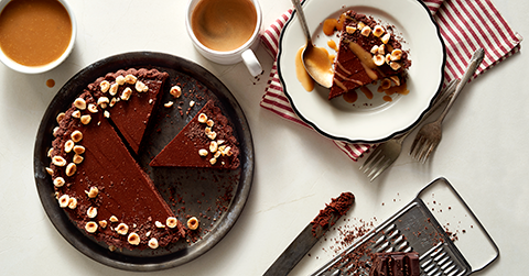 Dark chocolate and ricotta tart with salted butterscotch sauce